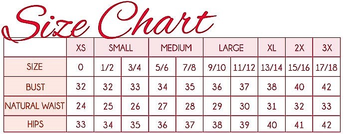 Glamour Setter boutique size chart