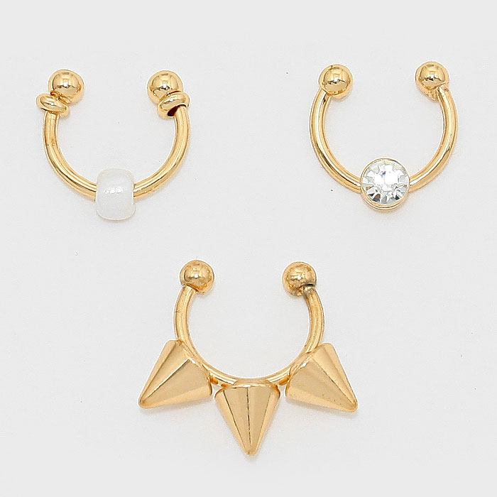 2-PCS Crystal Accented Cuff Nose Ring Set