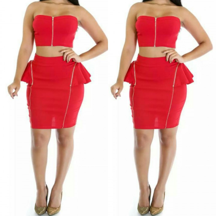 red zipper skirt