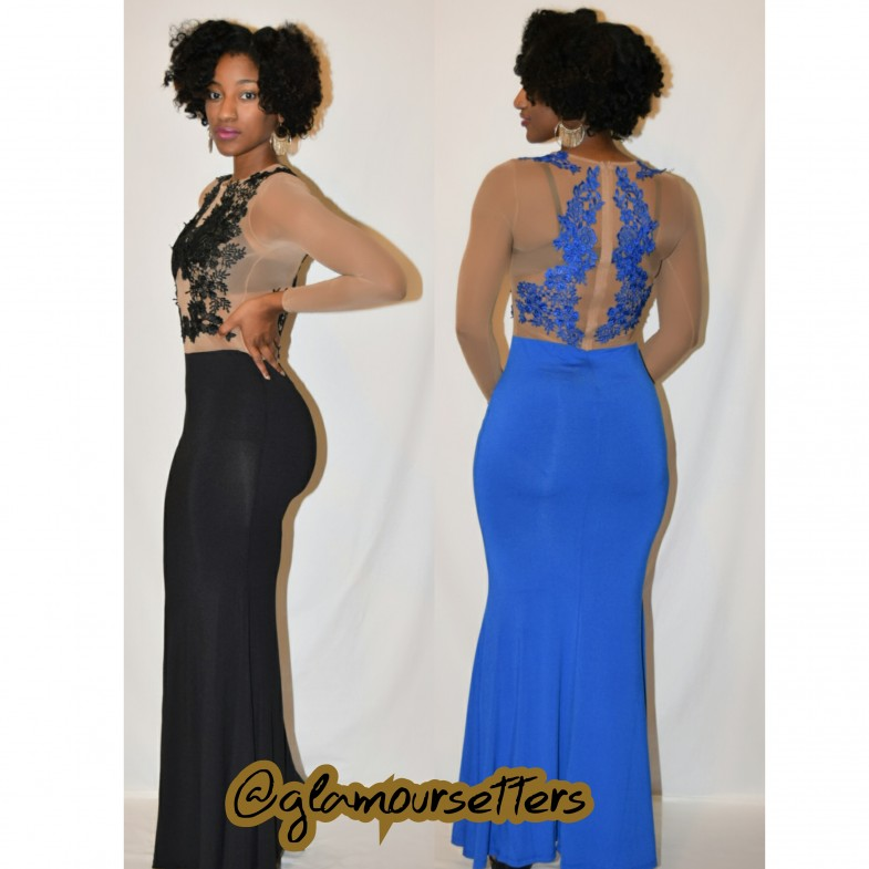 PLUS LOOSE FITTED LONG LACE TOP EVENING DRESS