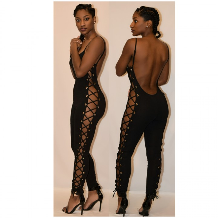 Open laceup side jumpsuit