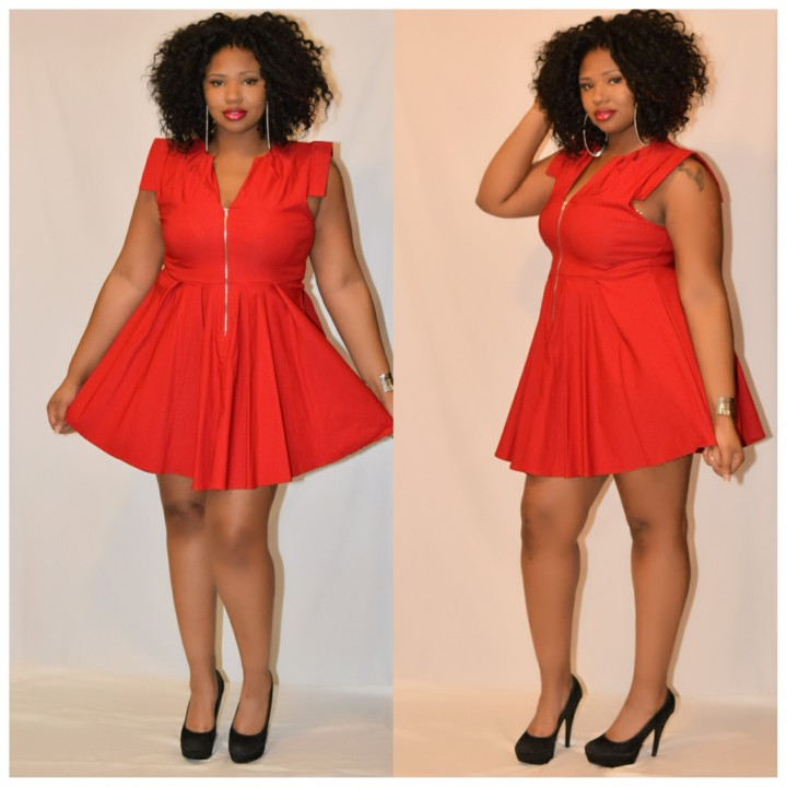 Plus size skater red dress