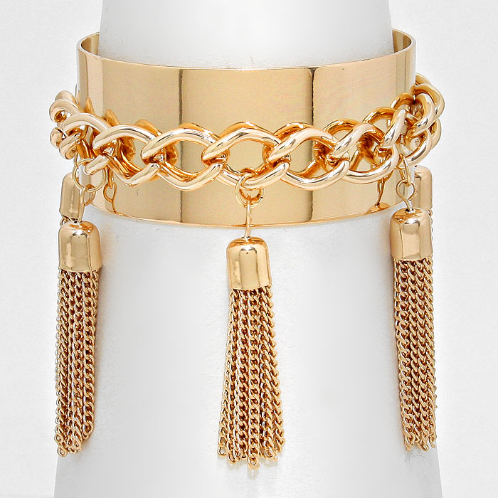 Metal Chain Tassel Charm Station Cuff Bracelet