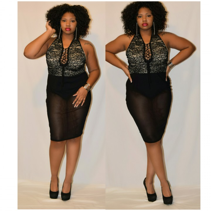 Lace leotard plus size dress