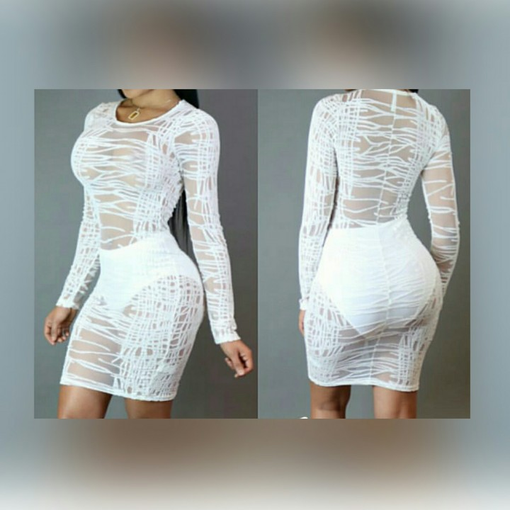Sheer Long Sleeve White Dress