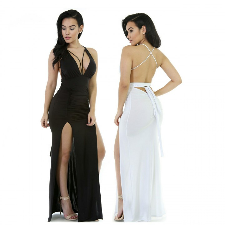WHITE SPAGHETTI STRAP DOUBLE HIGH SLIT DRESS