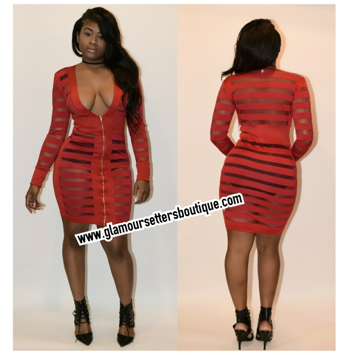 Candy stripes sheer red dress