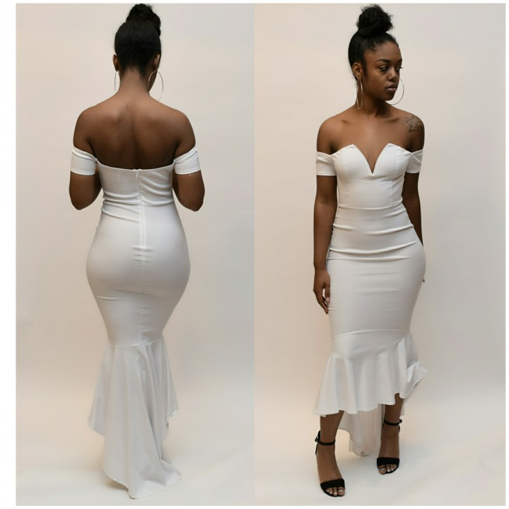 mermaid white long dress
