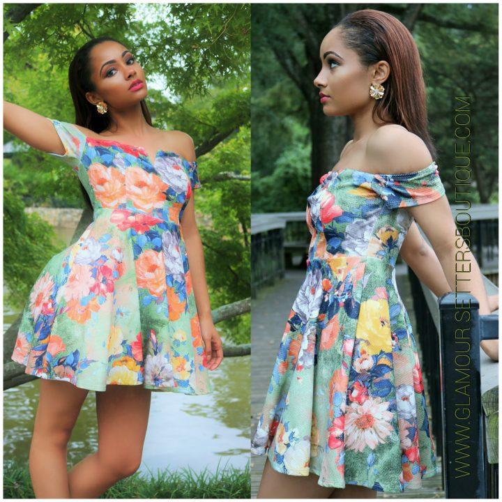Floral Off shoulder Flare mini dress