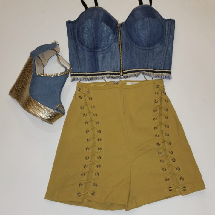 SUMMER LACEUP HIGH WAIST SHORTS