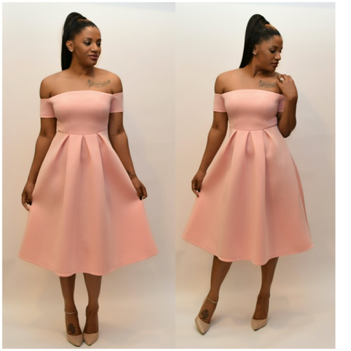 Off shoulder Flare pleated midi dress
