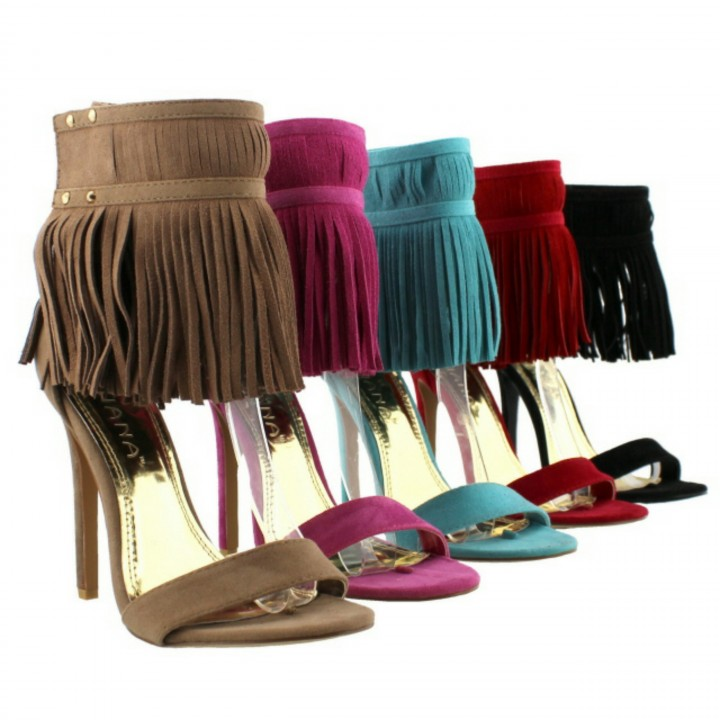 Fringe leather heels shoe