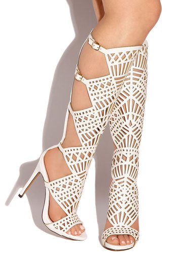 Gladiator White Open Toe Heels