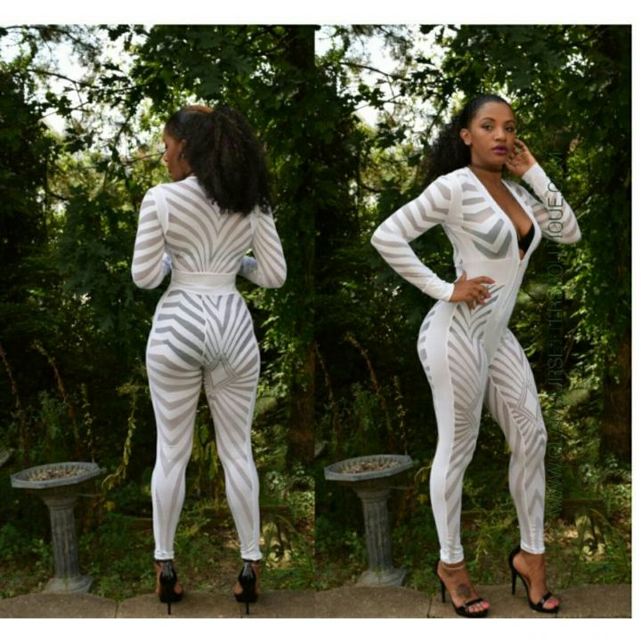 Pure White Long Sleeve Sheer Jumpsuit