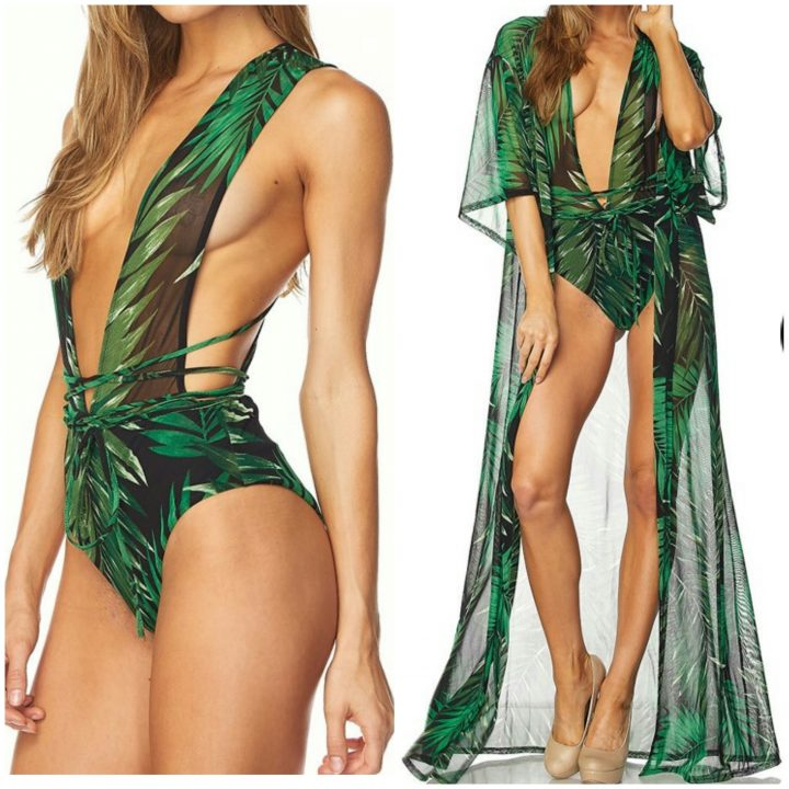 GREEN TROPICAL THREE PIECE SWIMWEAR