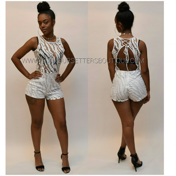 Black Open Back Laceup Sheer Romper