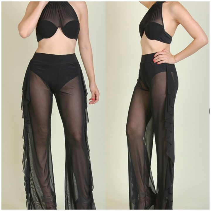 SIDE RUFFLE SHEER HIGH WAIST PANTS