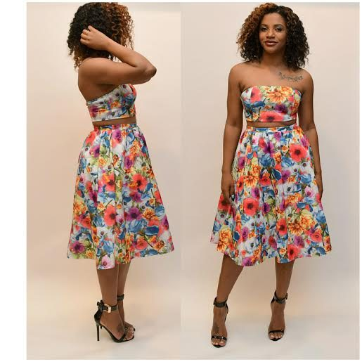 Floral halter top and skirt set