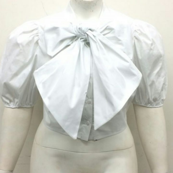WHITE BOW TIE CROP TOP +