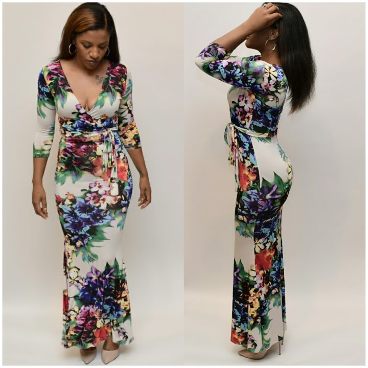Plus size Colorful Long sun dress. Perfect plus size dress for summer.
