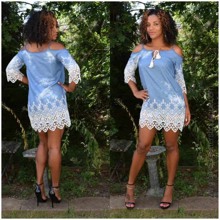 JEANS LACE ACCENTED DRESS