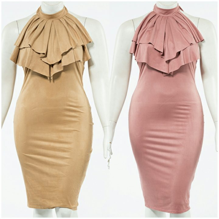 PLUS SIZE PEPLUM CHOKER SUEDE DRESS