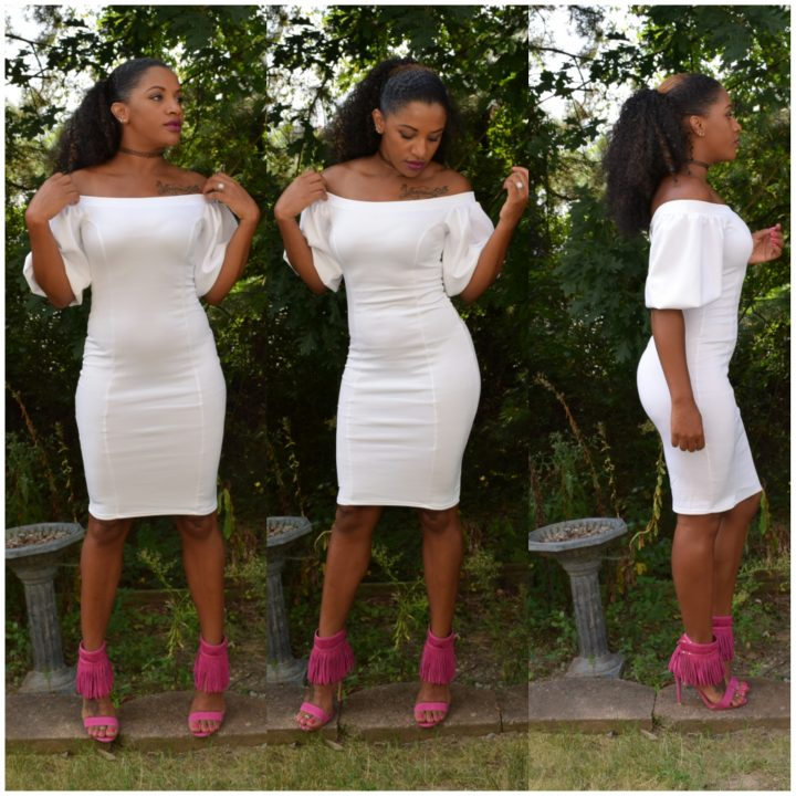 POOF SLEEVES BODYCON DRESS