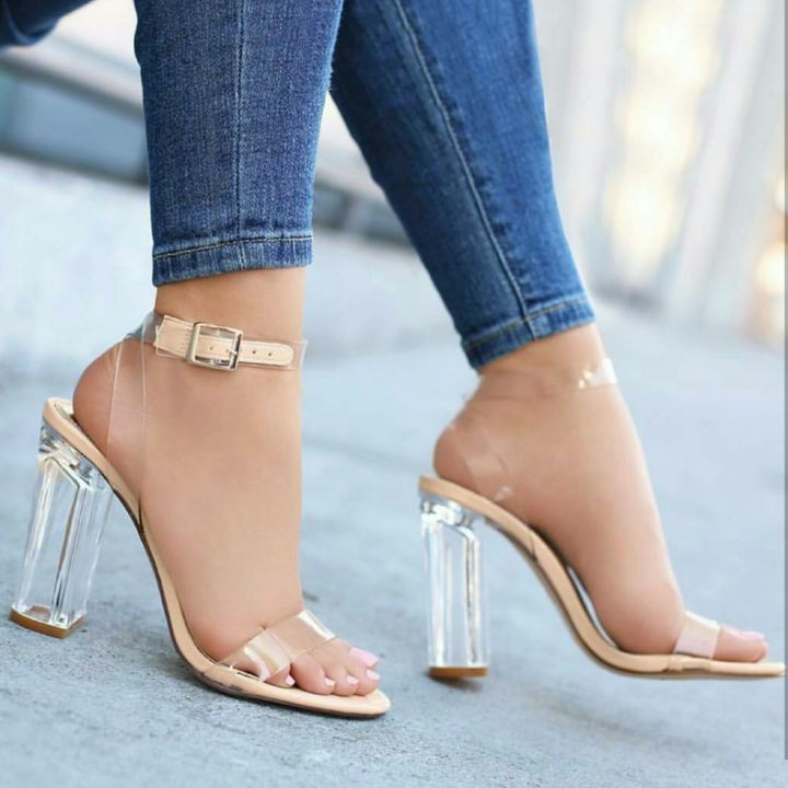 TRANSPARENT GLASS HEELS CLEAR SHOES
