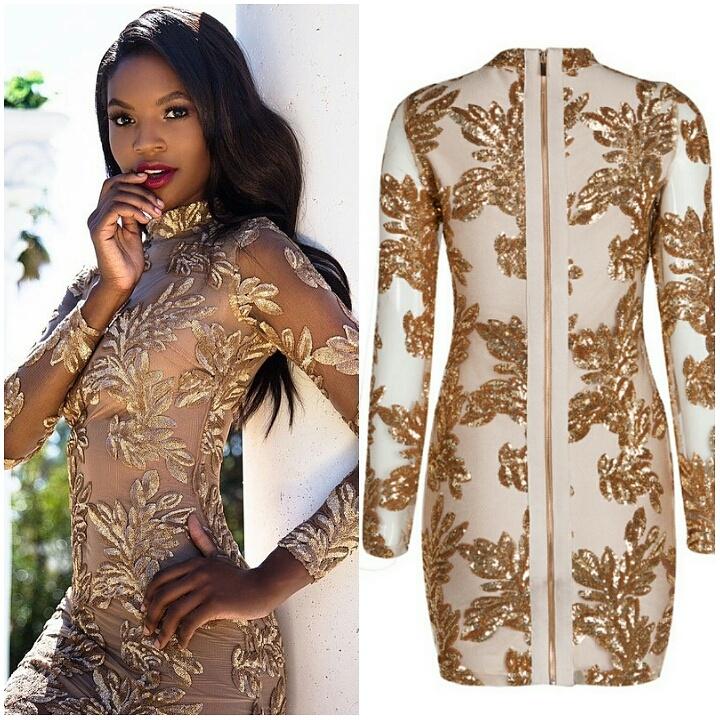 GOLD SHEER SEQUIN BANDAGE DRESS