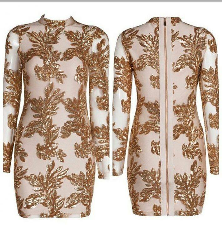 GOLD SEQUIN BANDAGE DRESS