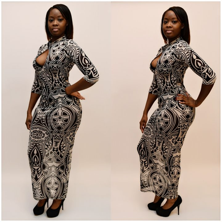 TRIBAL PRINT LONG MIDI DRESS