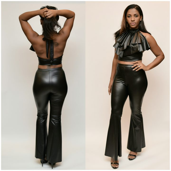 LEATHERETTE CROP TOP PANTS SET