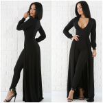 BLACK LONG SLEEVE CAPE JUMPSUIT