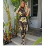 GOLD SEQUIN LEAF BODYSUIT PLUS