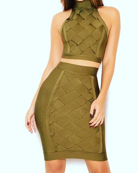 OLIVE CROP TOP BANDAGE SKIRT SET This matching  skirt set is the true definition of sexy and classiness.  You are sure to turn some heads with this high quality fit.  94% Polyester 4% Spandex 2% Rayon