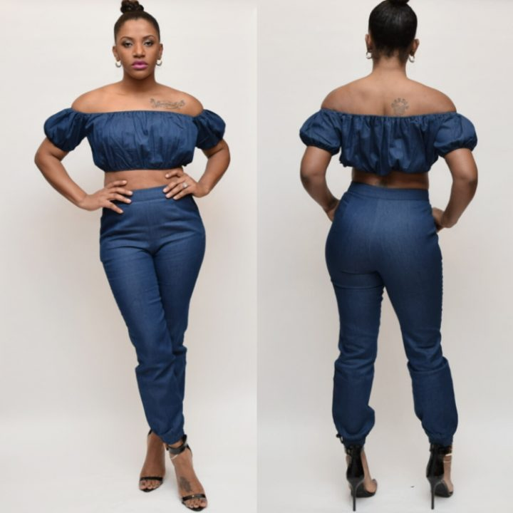 JEANS CROP TOP PANT SET