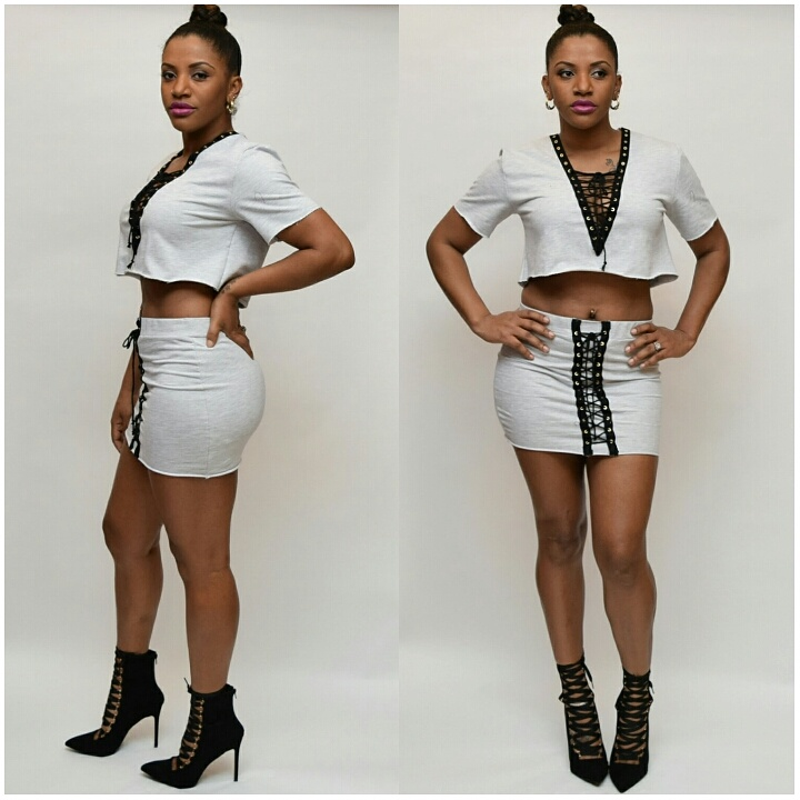 GREY TERRY JERSEY SKIRT SET