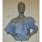 PLUS DENIM PEPLUM CROP TOP