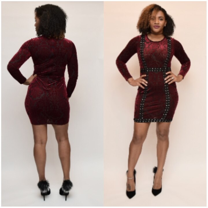 RED VELVET LONG SLEEVE DRESS