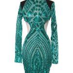 Designer sequin open back dress