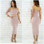 MAUVE OFF SHOULDER MIDI DRESS