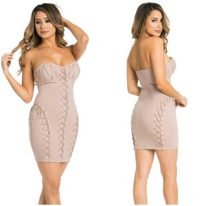 PARTY NIGHT LACE TUBE DRESS (NUDE)