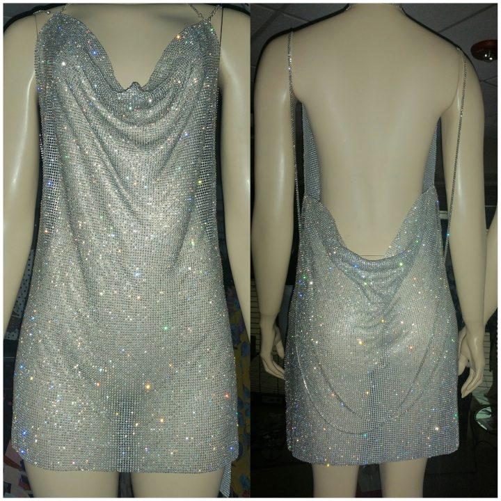 RHINESTONE BEDAZZLED CROWL NECK DRESS