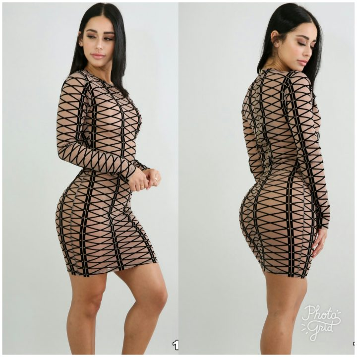 AEXIA LACEUP DESIGN SHEER LONG SLEEVE  DRESS