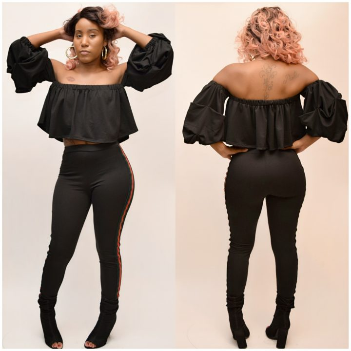 POOF SLEEVE CROP TOP PANTS SET BLACK