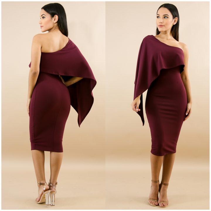 SOLID ASYMMETRIC PEPLUM DRESS (BURGUNDY )