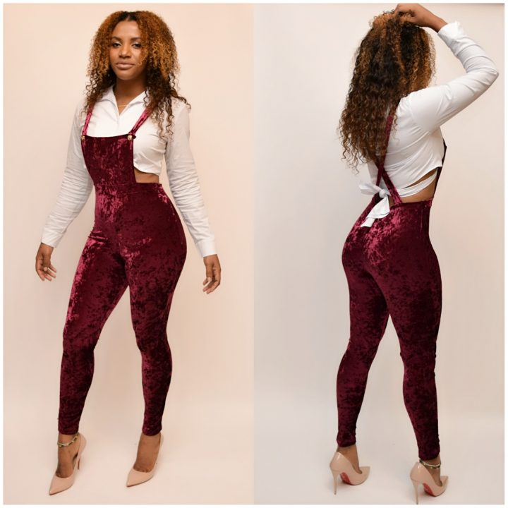 XL.2X.3X SCHOOL OVERALL VELOUR JUMPSUIT