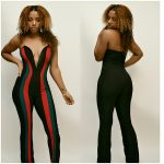 TUBE TOP RED GREEN VERTICAL DESIGNER STRIPE JUMPSUIT