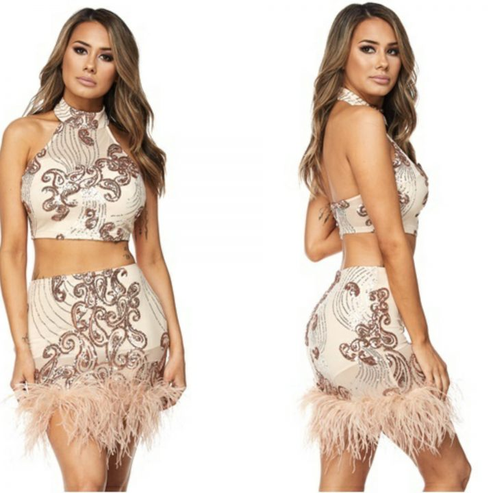 CROP TOP FEATHER HEM SEQUINS SKIRT SET NUDE