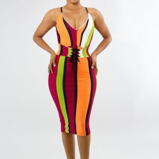 COLORBLOCK MIDI BODYCON SUMMER DRESS